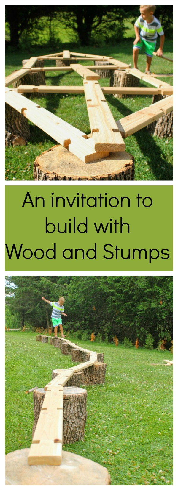 A simple invitation to build big and create with wood. Balance beams, boats - you name it. Great for heavy work and gross motor development, plus just plain old outdoor fun!