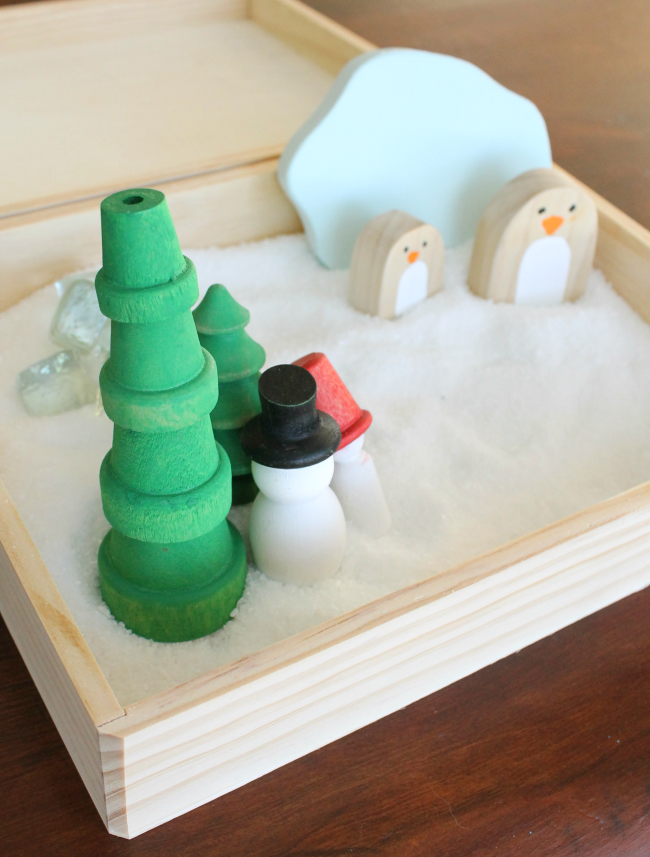 A gorgeous sensory bin idea for preschoolers! Such beautiful wooden toys for kids. Ad.