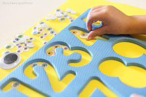 teaching numbers - googly eyes