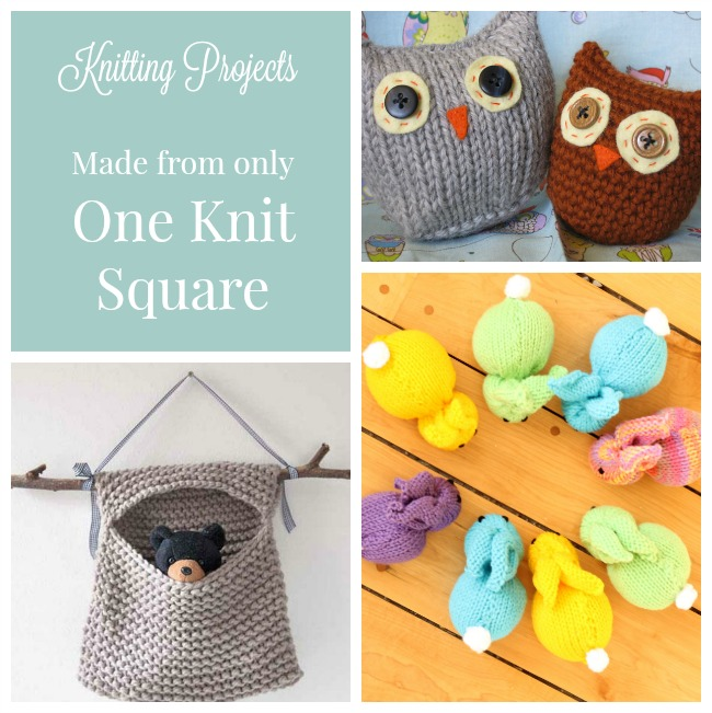 These are perfect beginner knitting projects. All of these knit projects are made from only one knit square.