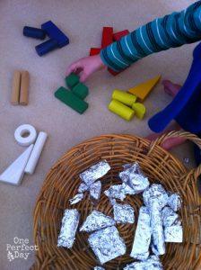Amazing fine motor activities to build dexterity - Foil and blocks