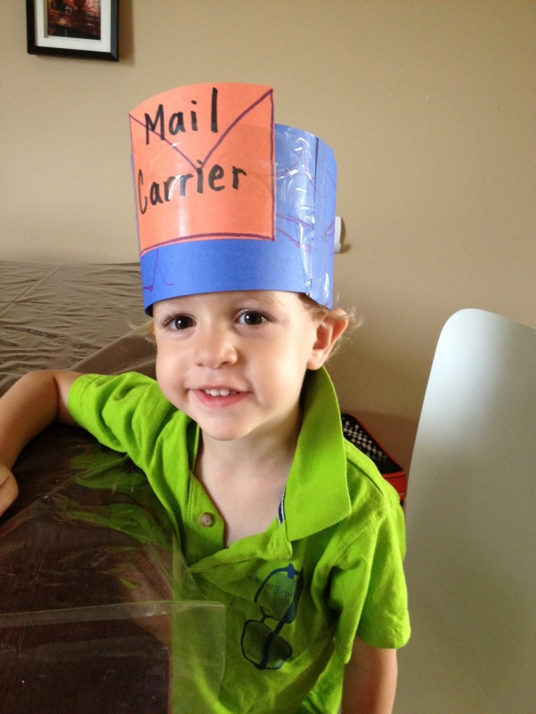 A close up picture of my mail carrier! My little preschooler loves wearing this mail carrier hat as he delivers his mail to our preschool post office in his bedroom.