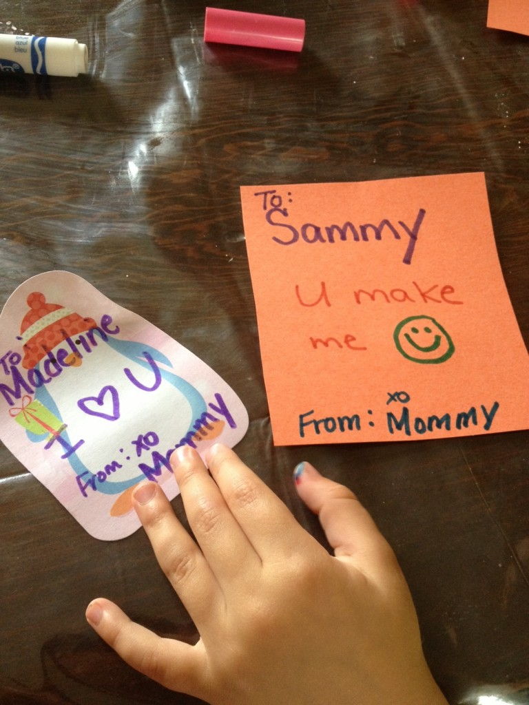 Preschool writing on sweet little homemade cards made from construction paper