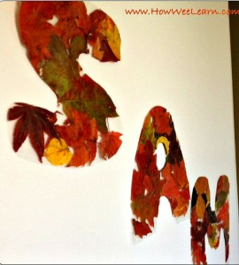 Fall Crafts: Fall Leaf Letters