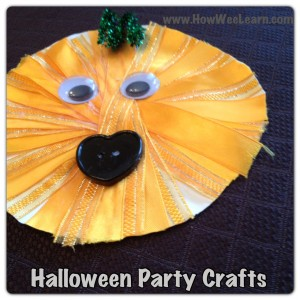 Halloween party crafts ribbon jack-o-lantern