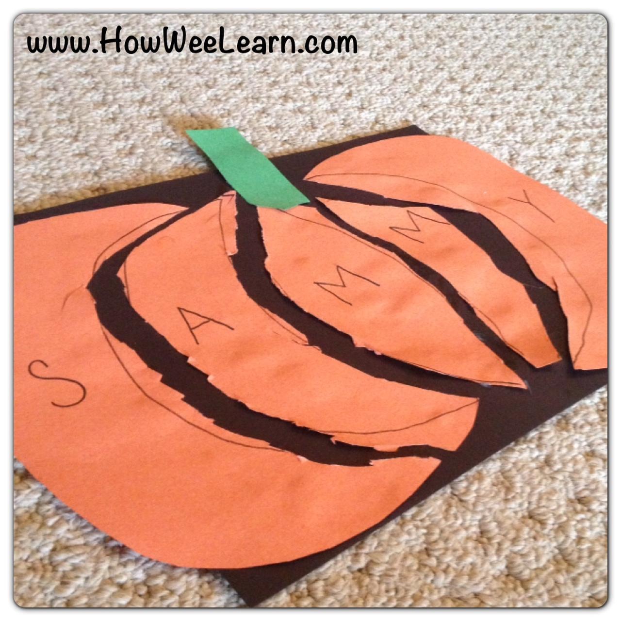 Halloween preschool crafts pumpkin name puzzles how for Art craft for preschool