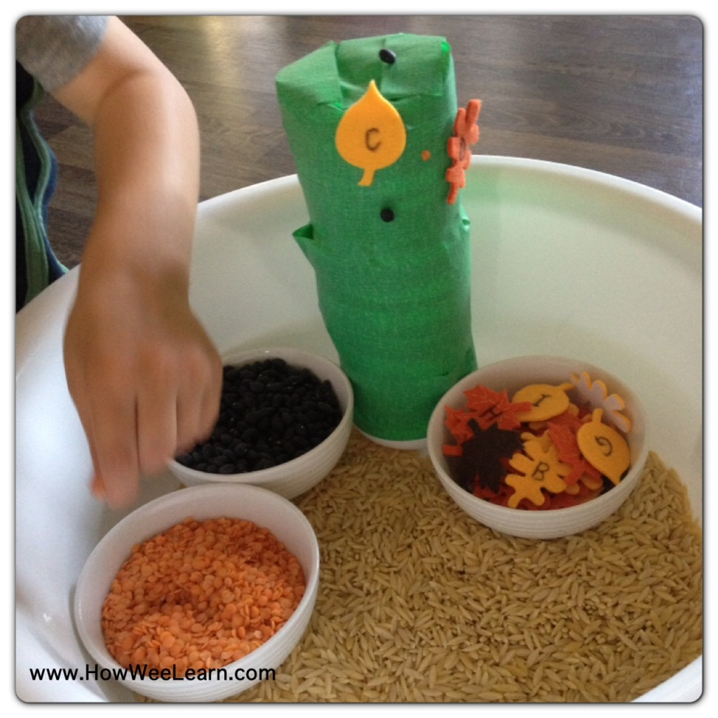 Sensory Activity for Toddlers - decorate a sticky tree with foam or real leaves and enjoy sensory play with rice, lentils and beans