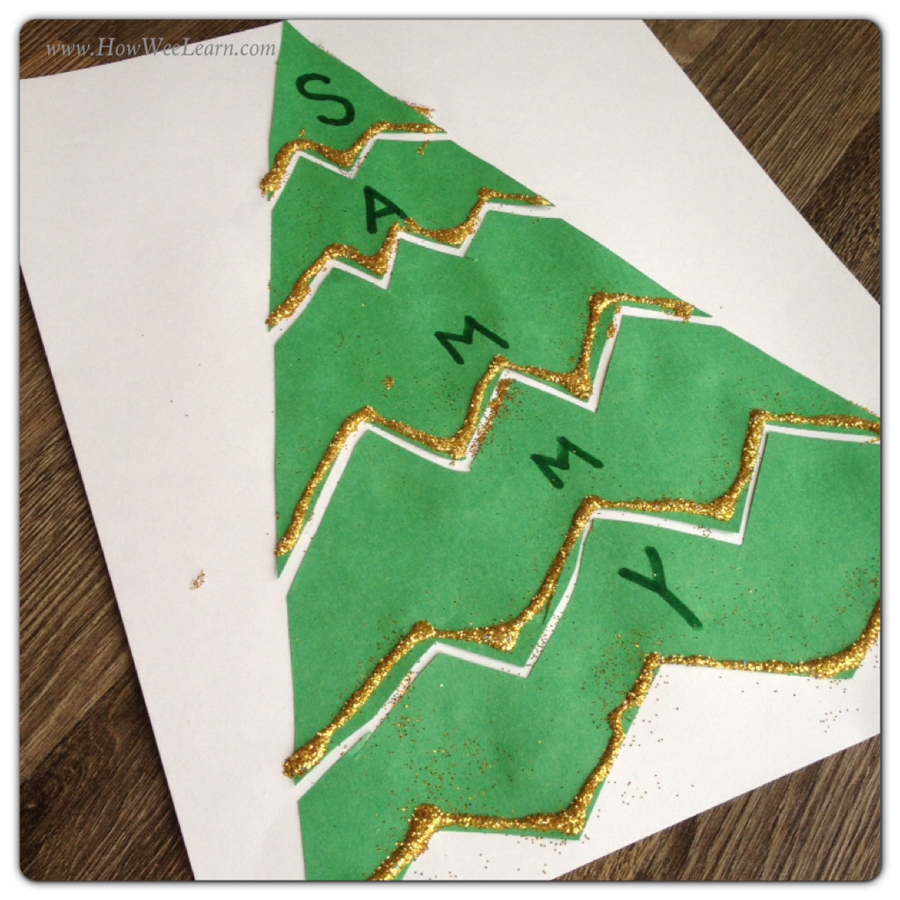 Preschool christmas projects name puzzles how wee learn for Christmas crafts for preschoolers pinterest