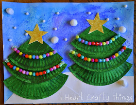 Paper plate Christmas crafts trees