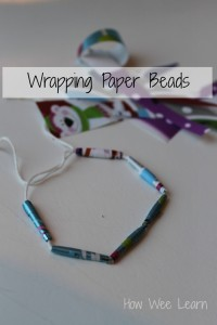 reusing wrapping paper to make beads