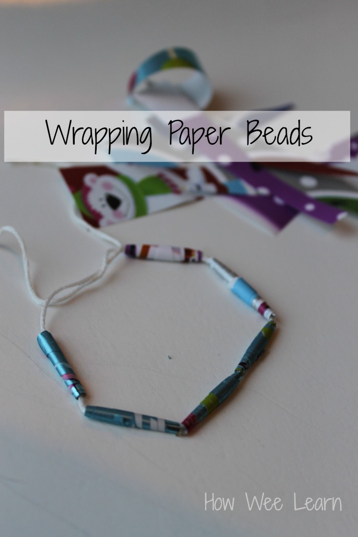 reusing wrapping paper to make beads how we learn
