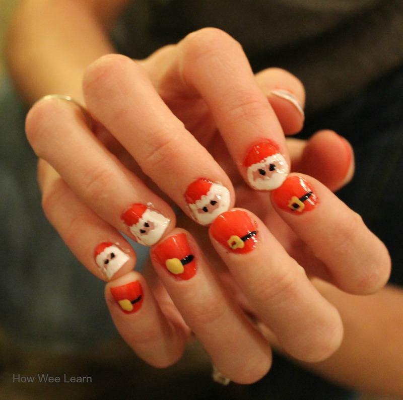 Santa nail design - Santa Nail Design: Adorable And Simple! - How Wee Learn