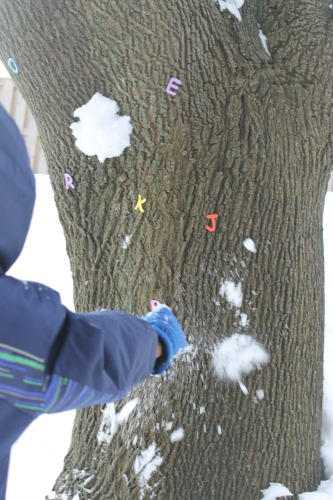 snowball toss game to practice the alphabet
