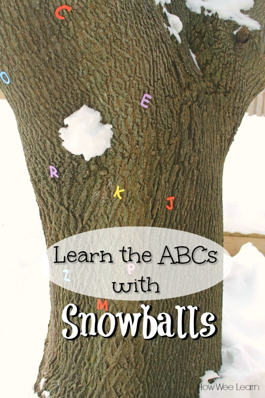 Learn the alphabet by throwing snowballs! Such a fun winter activity for preschoolers