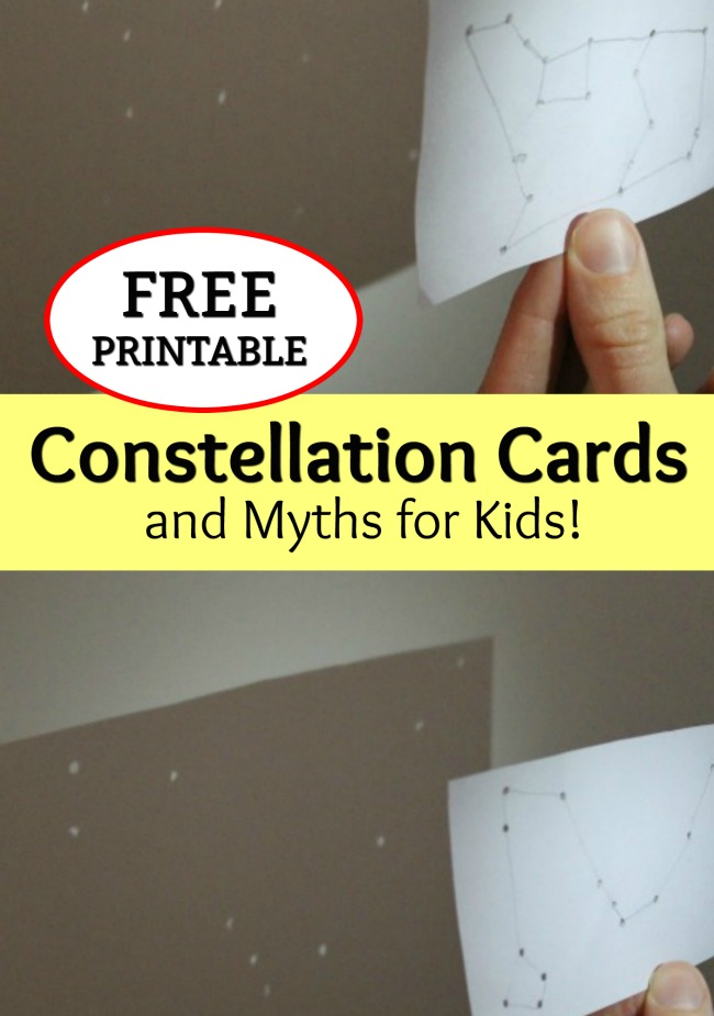 These constellation cards and myths for kids are awesome for a constellation unit! With FREE PRINTABLE CARDS! Poke out holes, shine a flashlight, and share the myths! Such a fun science activity about constellations and stars. #howweelearn #constellationactivities #scienceactivities #freeprintable