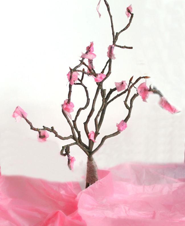 A great sensory art project for kids this spring - cherry blossom trees!