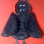 black bat paper plate craft