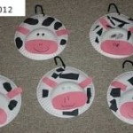 cows made by kids from paper plates