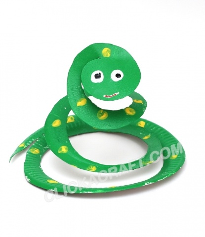 A Paper Plate Craft Coiled Snake Made From Spiralled