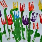 fork painting tulips preschool spring craft