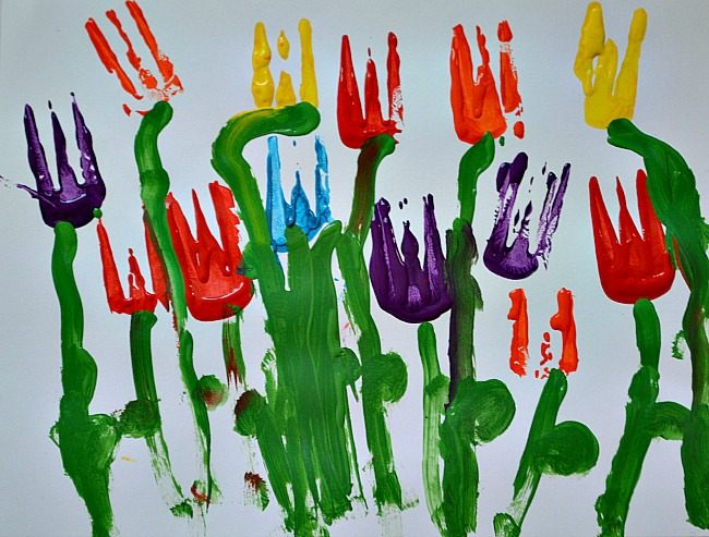 fork painting tulips preschool spring craft