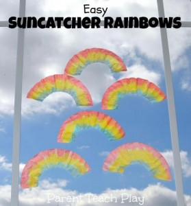 coffee filter rainbows for a preschool spring craft