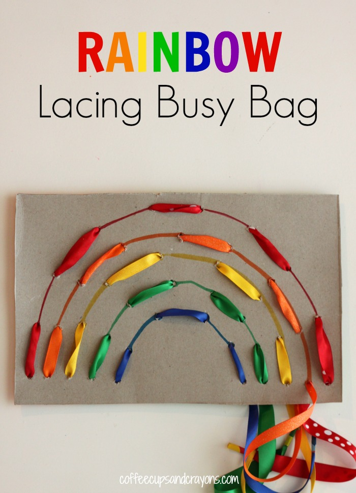 rainbow lacing preschool spring crafts