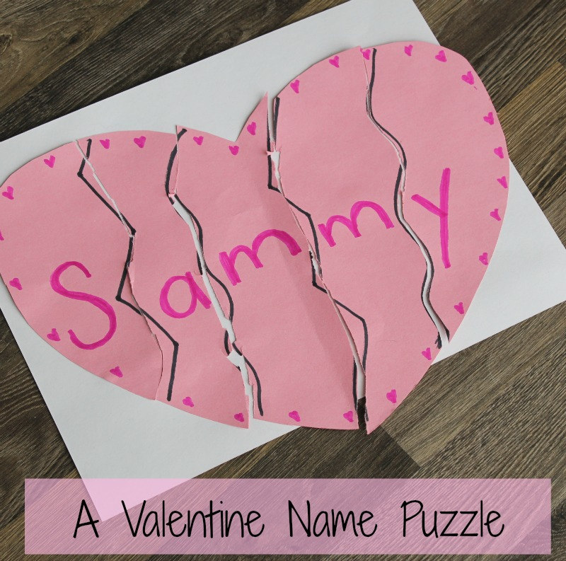 Valentine's day crafts for kids - heart name puzzle! Such a great and easy Valentine activity for preschoolers. #valentinesday #craft #preschool #alphabet #easy