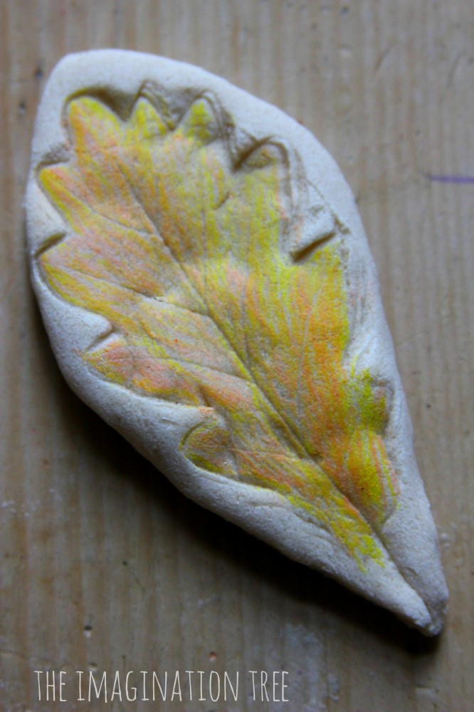using salt dough for leaf imprints