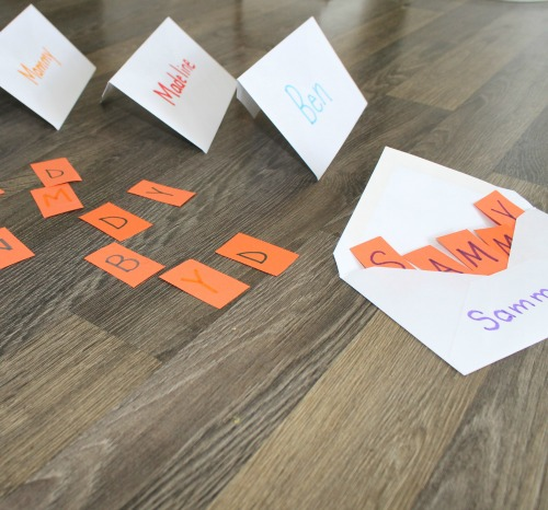 matching uppercase and lowercase letters into envelopes