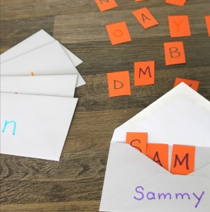 This is a great way to help little ones learn their alphabet! Great name recognition activity too.