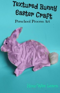 process art bunny easter craft with shaving cream