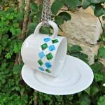 tea cups DIY bird feeders for kids