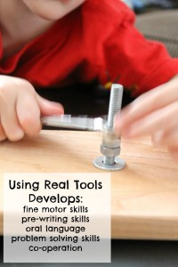 woodworking with kids using wrenches