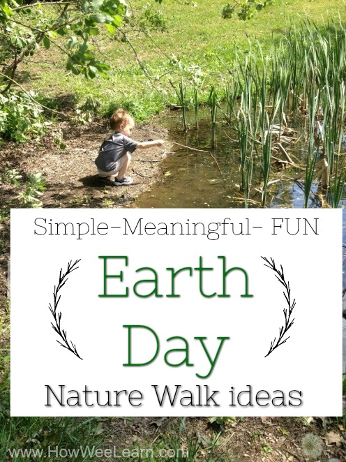 Awesome nature walk ideas for kids that are perfect for Earth Day! Get those preschoolers outside and exploring nature with these Earth Day activities for kids. #howweelearn #naturewalks #earthday #childhoodunplugged #getoutside #forestschool #nature#preschoolactivities #kidsactivities