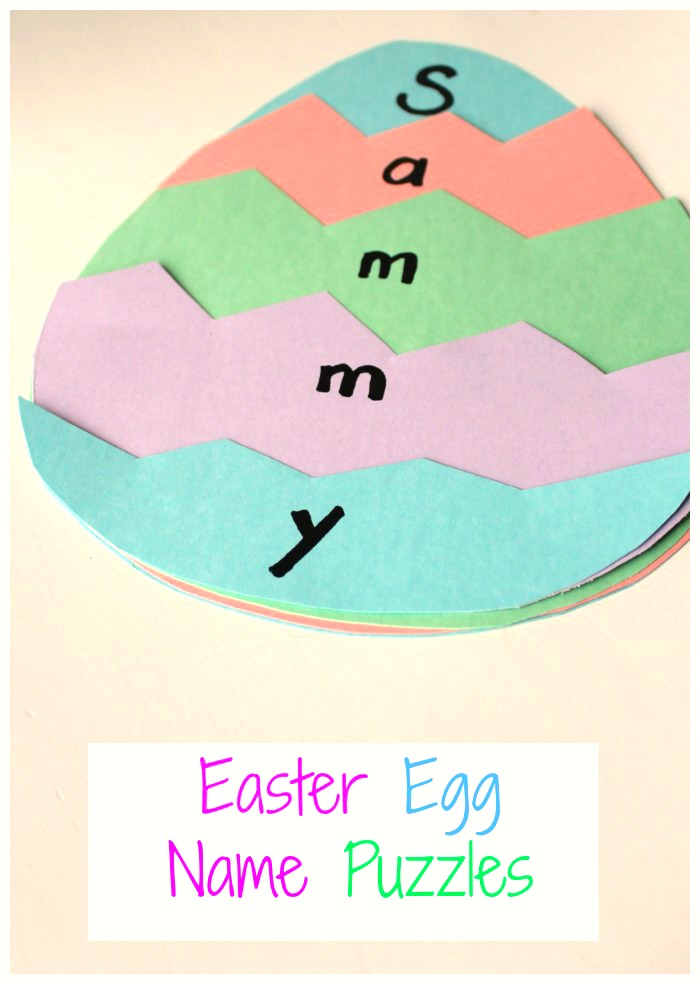 A great Easter activity for preschoolers - and Easter Name Puzzle! #Easter #Preschool #craft #activity #art