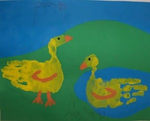 kids handprint art ducks