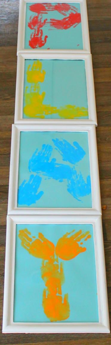 how we learn.  Kids handprint art