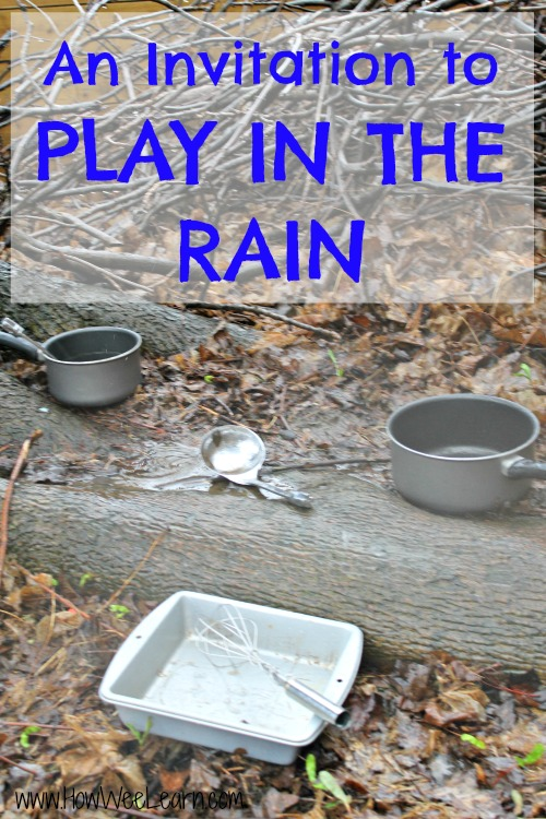 Pots, ladle, baking dish and whisk sitting in a muddy forest ready for rainy day play