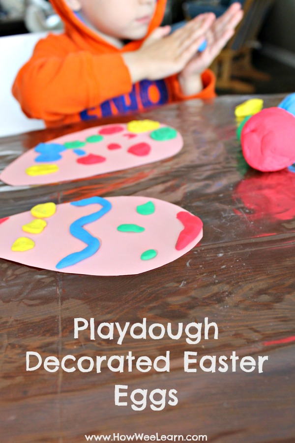 Such a simple Easter craft for preschoolers - playdough decorated Easter eggs!