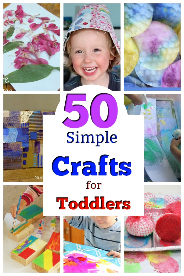 50 simple crafts for toddlers! Awesome crafts and art ideas for two year olds. Painting, cutting and pasting, and cute crafts too! #art #artactivities #preschool #crafts #toddlers