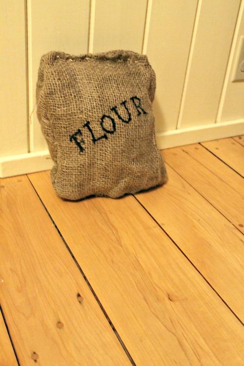 how we learn, burlap flour bag