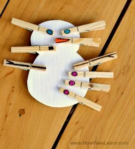 Clothespin Build-a-Snowman