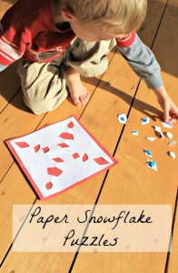 Paper Snowflake Puzzles – Preschool Winter Craft