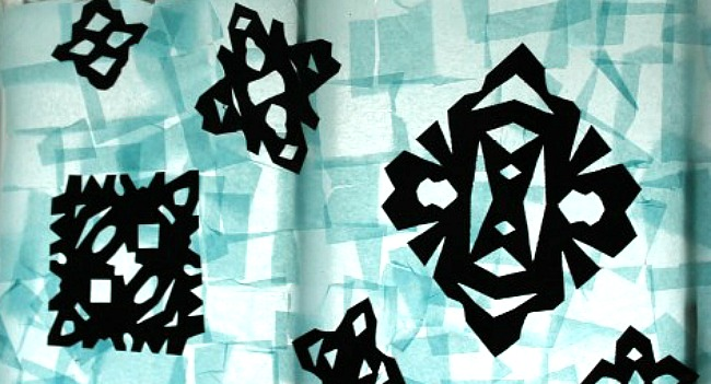 snowflake silhouettes! Beautiful winter art projects for kids.
