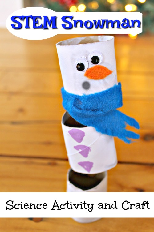 This snowman craft makes for a great winter STEM challenge! Perfect for learning about balance and stability and super cute too! #wintercrafts #winterart #papercrafts #preschoolcrafts #preschoolactivities #kidsactivities #scienceactivities #homeschool #scienceprojects
