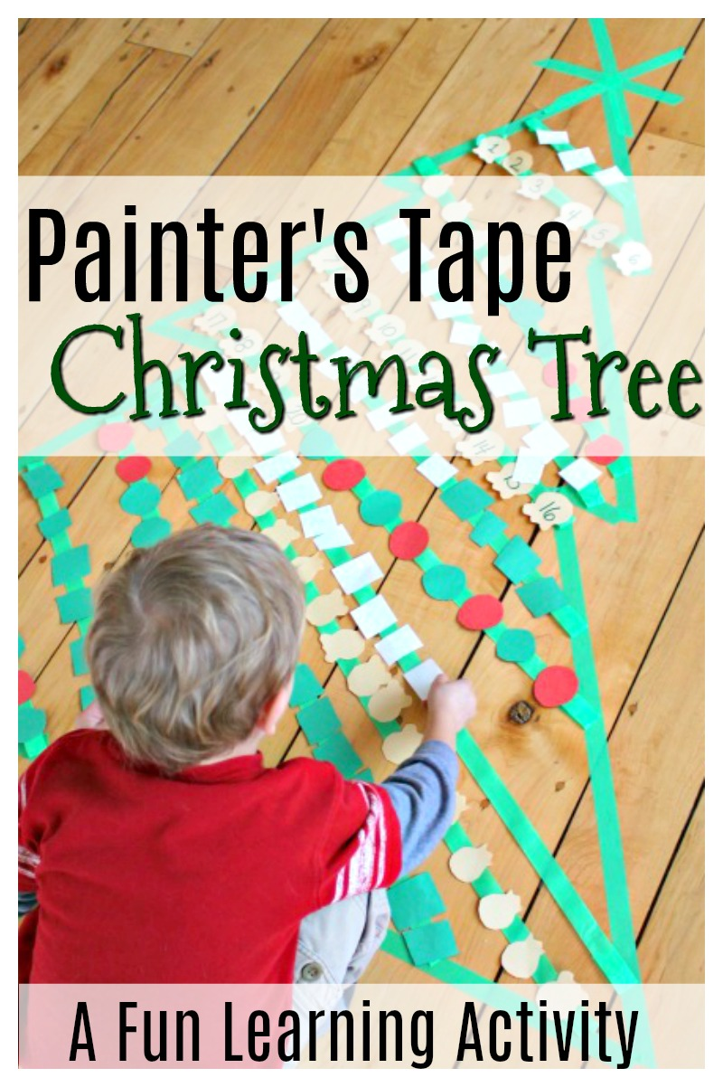 This is a great Christmas themed learning activity for preschoolers using painters tape shaped as a Christmas tree! Practise counting, patterning, and lots more with this great kids activity. #christmasactivities #christmasfun #funforkids #kidsactivities #preschoolactivities #counting #patterning