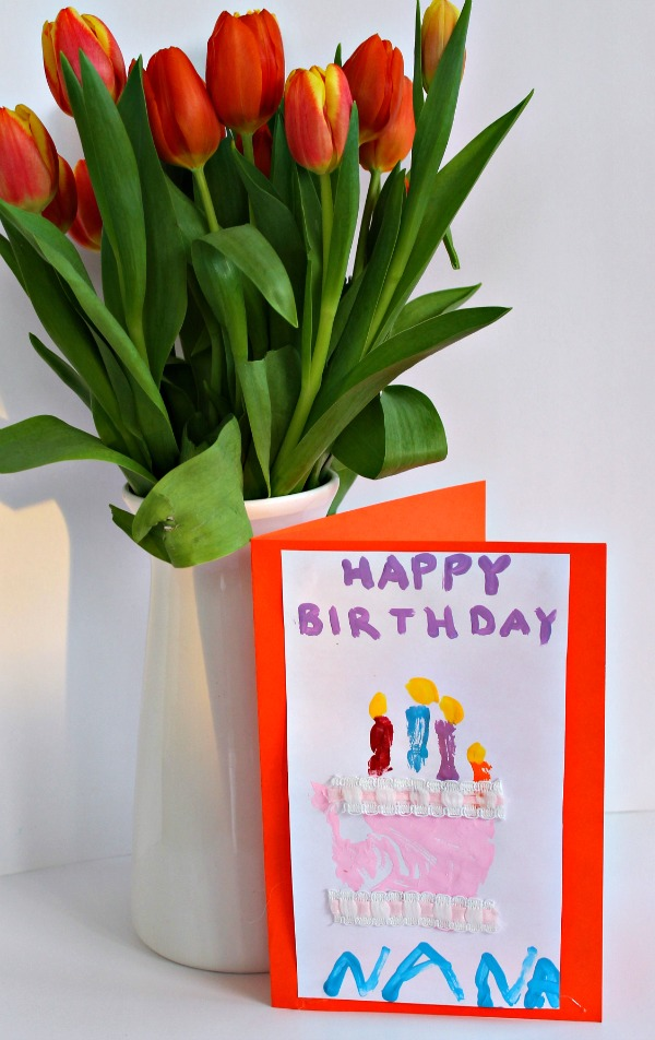 sweet birthday card for kids to make using a handprint!