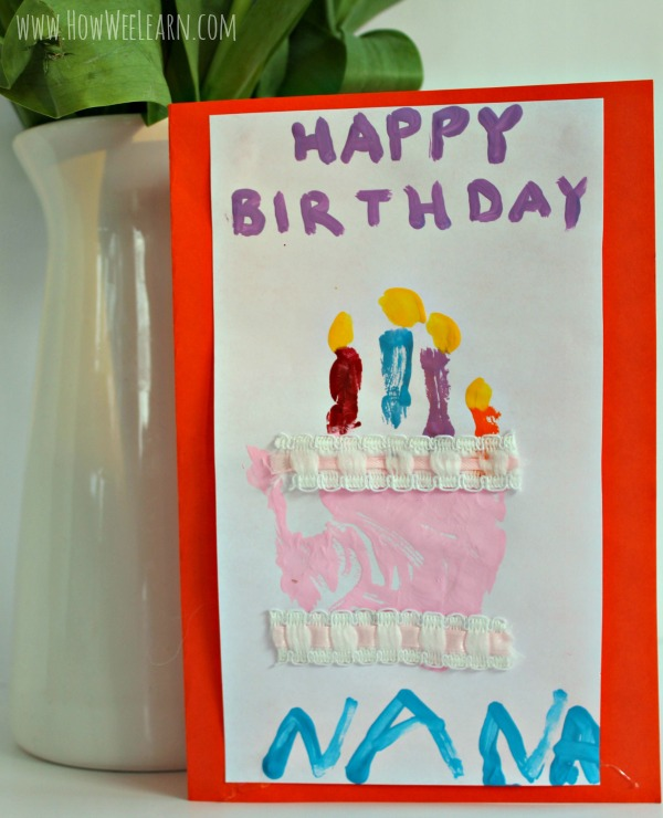 such a sweet homemade birthday card idea - a handprint birthday cake!