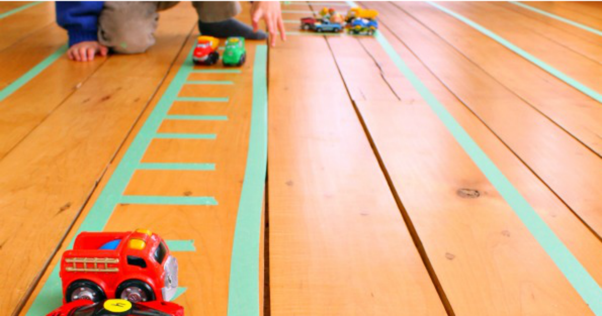 pop some painters tape on the floor for endless play!
